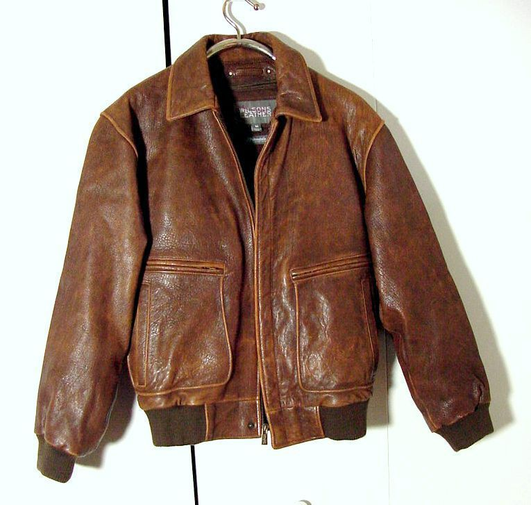 Vtg Distressed Wilsons Brown Leather B-2 Bomber Jacket Sz M ...