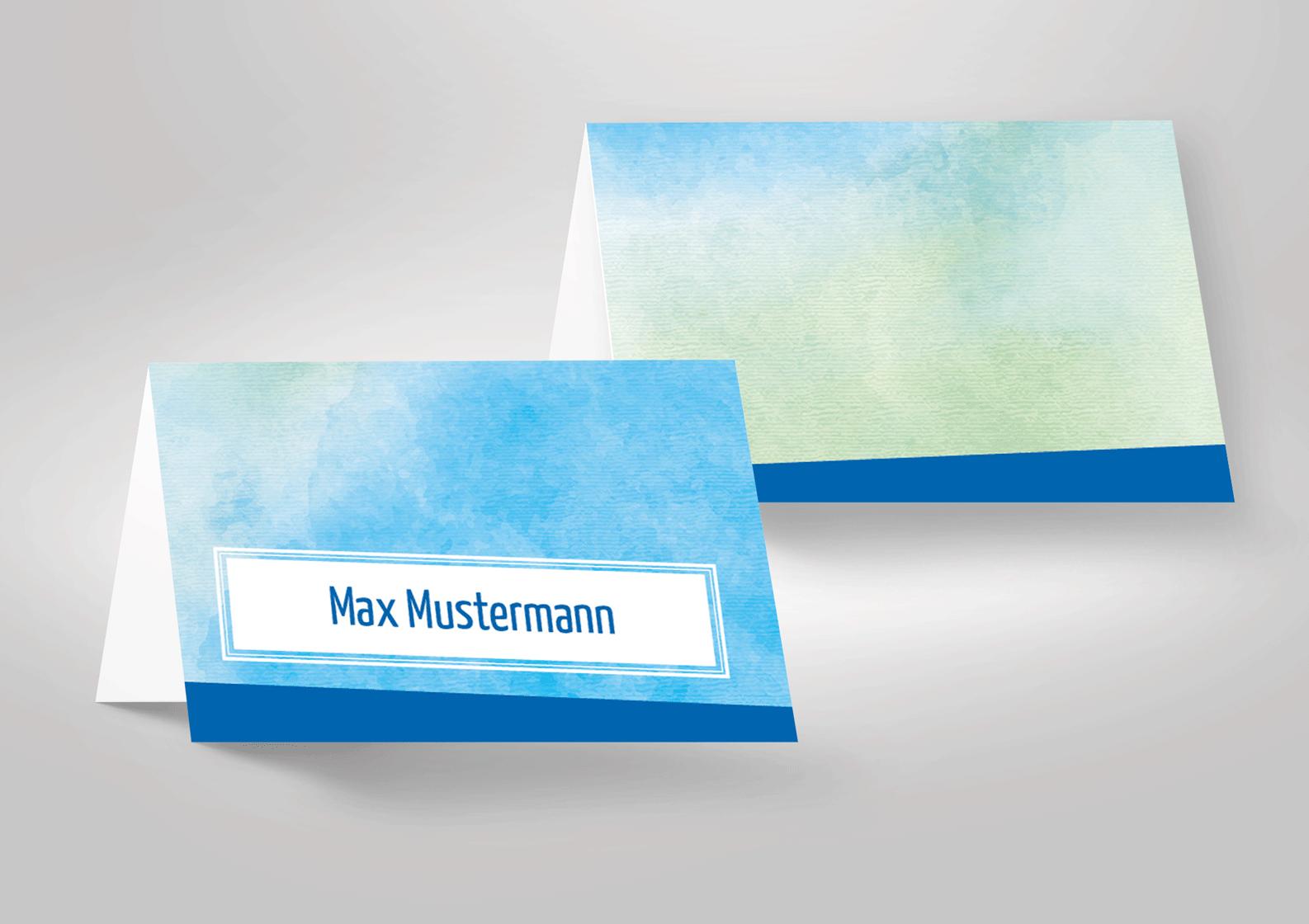 Schöne tischkarten zur konfirmation in blau wasserfarben bzw aquarell bedruckt oder zum selbstbeschriften
