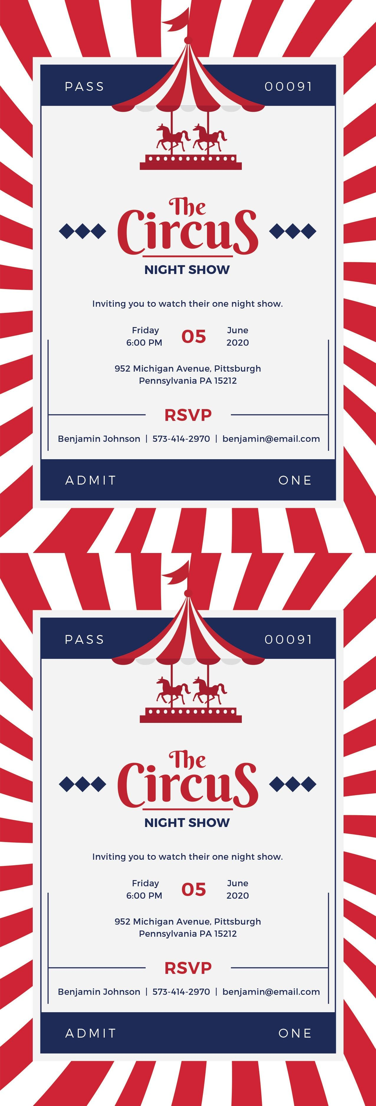 Free Circus Invitation Circus Carnival Pinterest Circus
