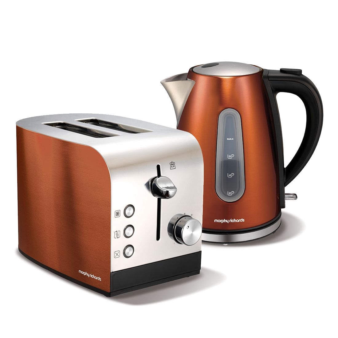 Morphy richards copper accents kettle toaster set for Kitchen set kettle toaster microwave