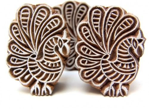 Wood Block Print Designs Indian Block Wood Stamp Peacock Design
