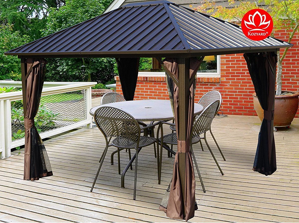 Kozyard Rosana 10x12 Hardtop Aluminum Permanent Gazebo With 2 Layer Sidewalls Rosana 10x12 Permanent Gazebo Gazebo Patio