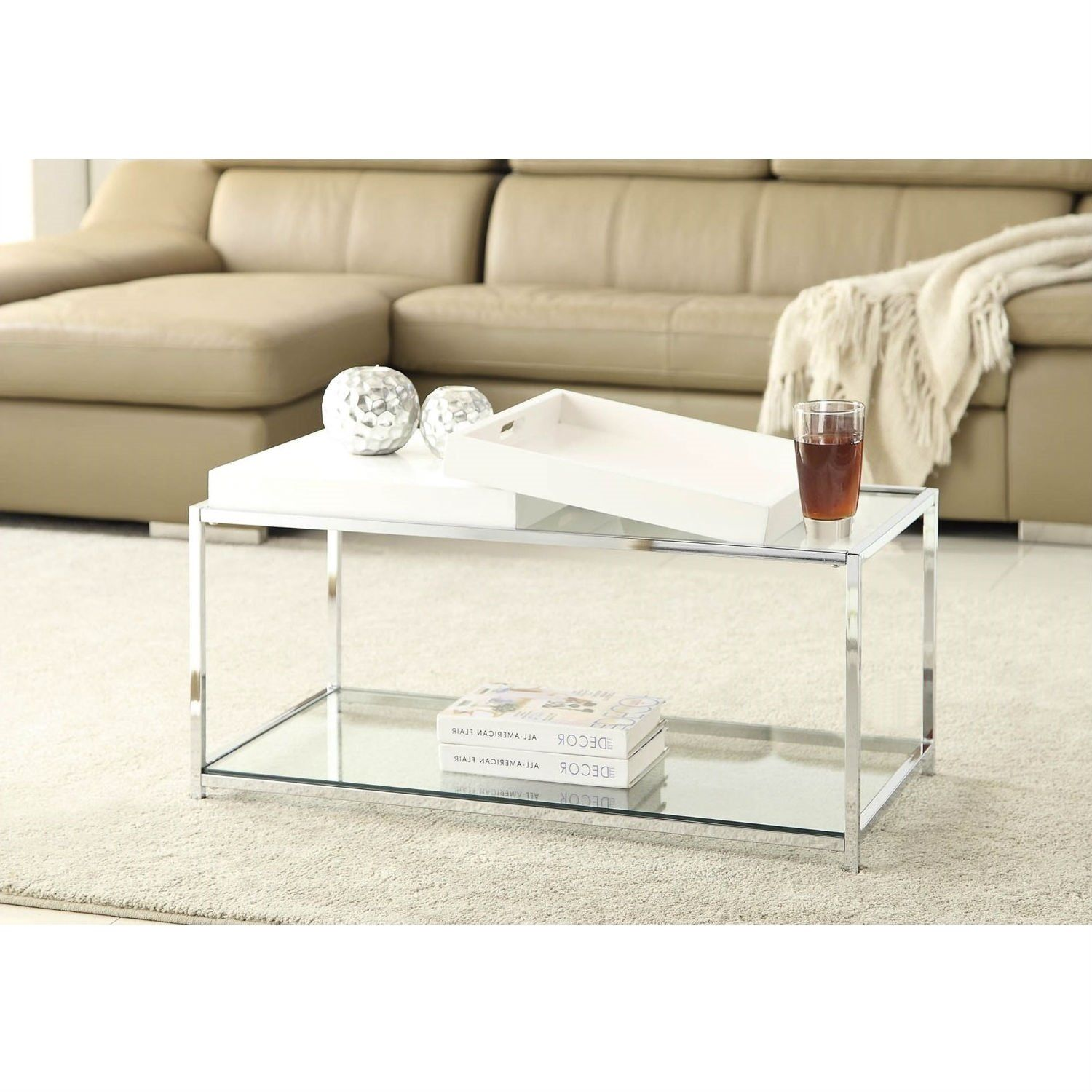 This Modern Chrome Metal Coffee Table With 2 White Removable Trays Combines  Urban Design And Multi Function Use. The Palm Beach Coffee Table Features  Two ...