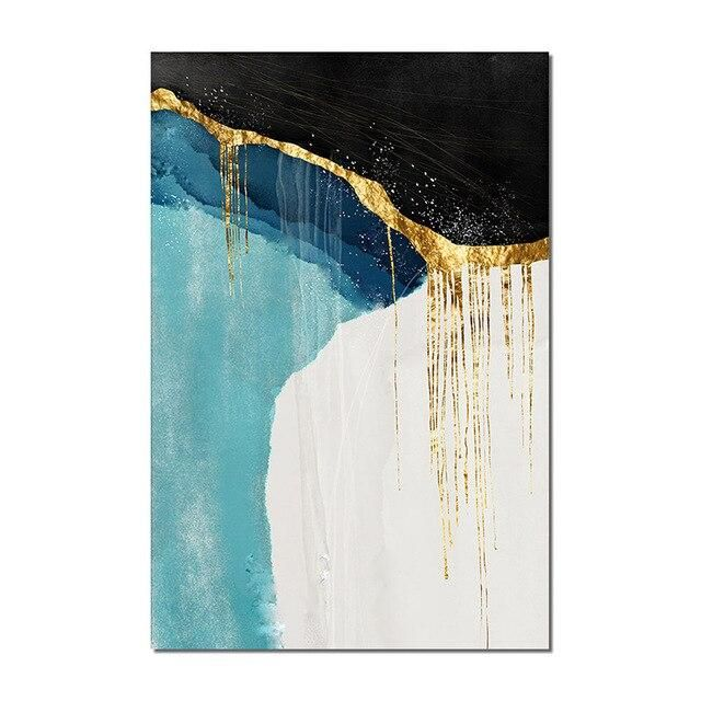 Photo of Hand Painted Black With White Abstract Gold Foil Oil Painting Canvas Wall Art Fine Modern Unframed Art For Living Room Decor – 70cmx140cm / DC 72 No frame