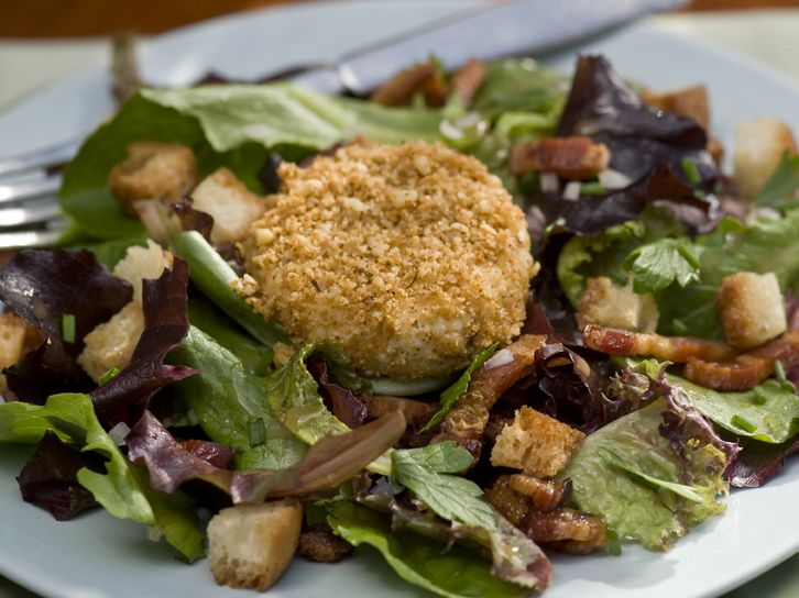 Warm Nut Encrusted Goat Cheese Salad with Bacon Lardons Recipe : Emeril Lagasse : Food Network - FoodNetwork.com