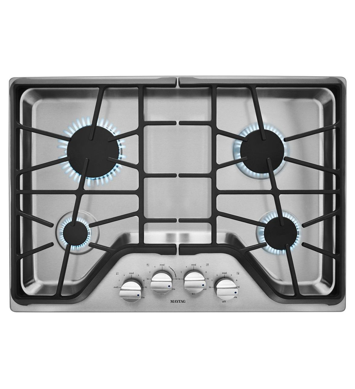 Inch burner gas cooktop with duraguard protective finish