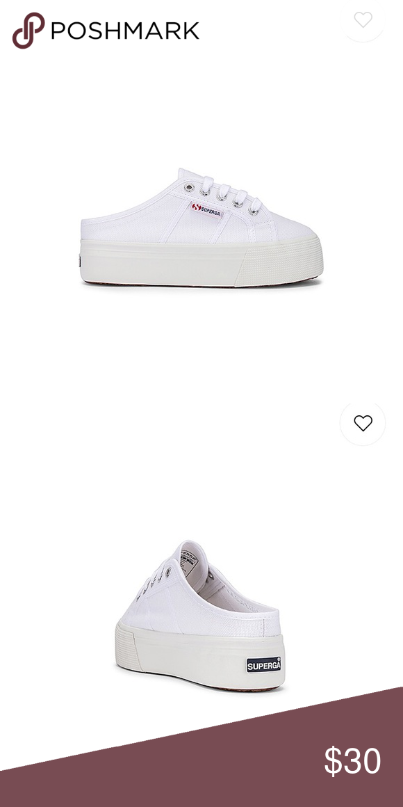 Worn once Superaga white sneakers. Size