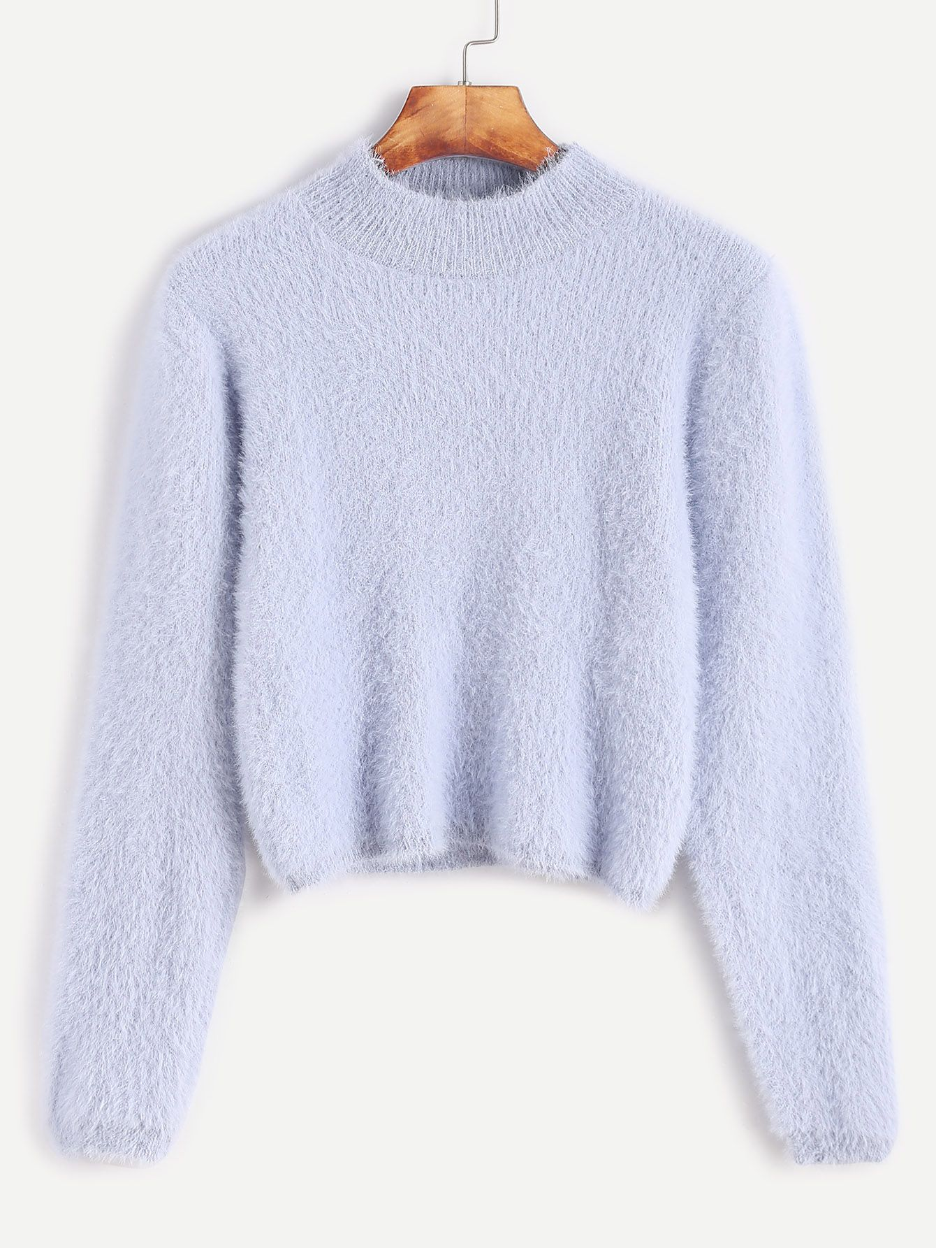 Pale Blue Crew Neck Crop Fuzzy Sweater | Shopping, Clothes and ...