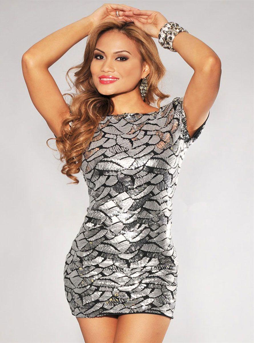 Low back silvery mini clubwear clubwear tops u dresses pinterest