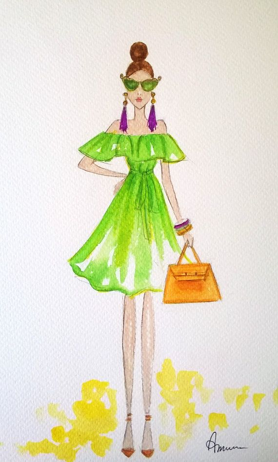 custom fashion illustration watercolor by annafuiillustrations