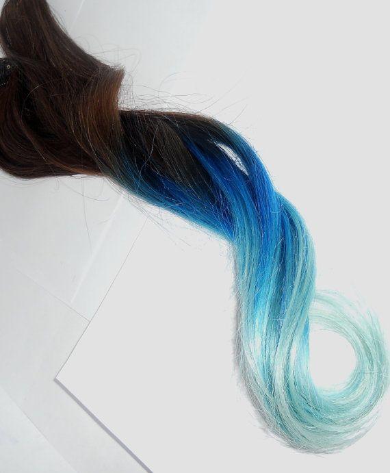 Blue/Aqua to Pastel Blue/ Aqua Tips / T H I C K full set// Choose ...