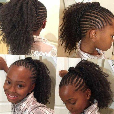 Modele de tresse senegalaise pour petite fille. Coiffure