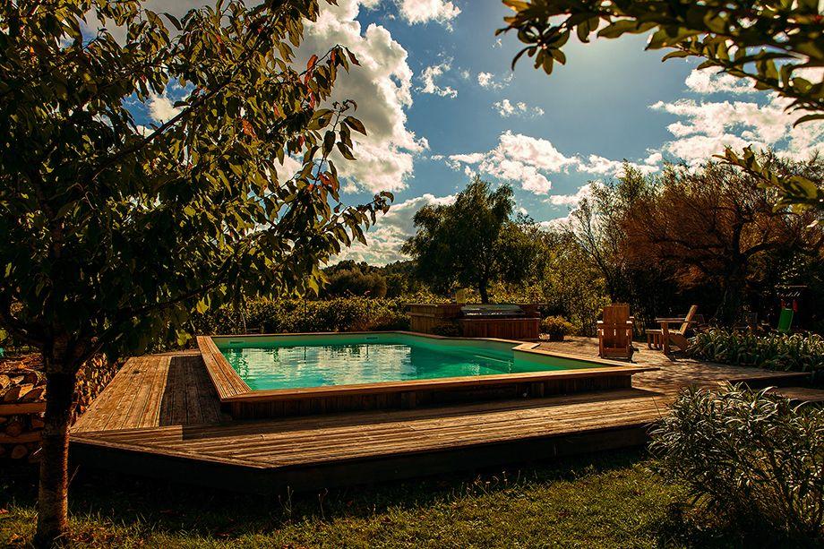 Piscine hors sol semi enterr e bois piscine hors sol - Hivernage piscine bois semi enterree ...