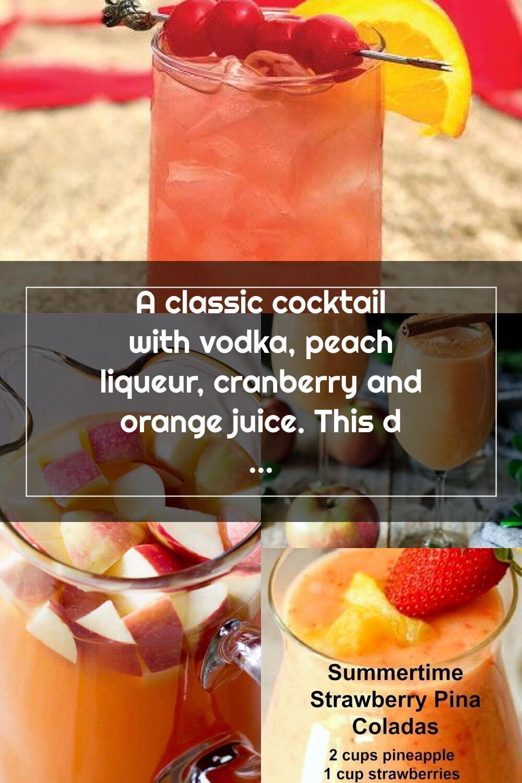 A classic cocktail with vodka peach liqueur cranberry