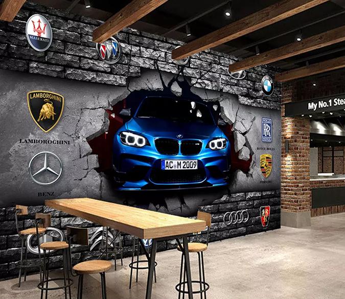 3d Broken Wall Car Sign 273 Car Showroom Design Car Signs