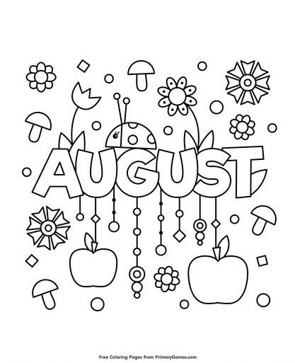August | Summer coloring pages, Coloring pages, Summer ...