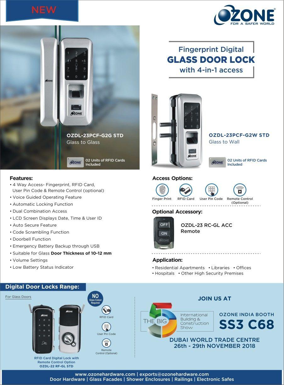 New Digital Locks By Ozone Digital Lock Glass Door Lock Ozone
