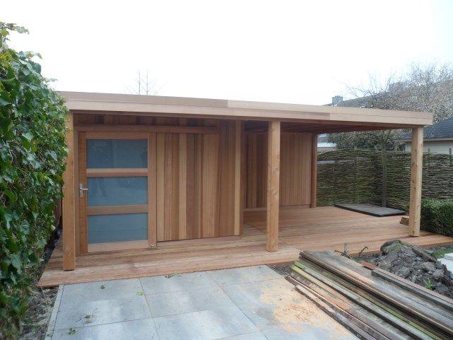 Tuinhuis schuurtje of berging met platdak en luifel lounge gedeelte moderne of rustieke - Moderne hoek lounge ...