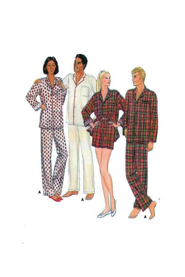 Unisex Pajamas, Sewing Pattern, Butterick 4136, Two Piece, Button ...
