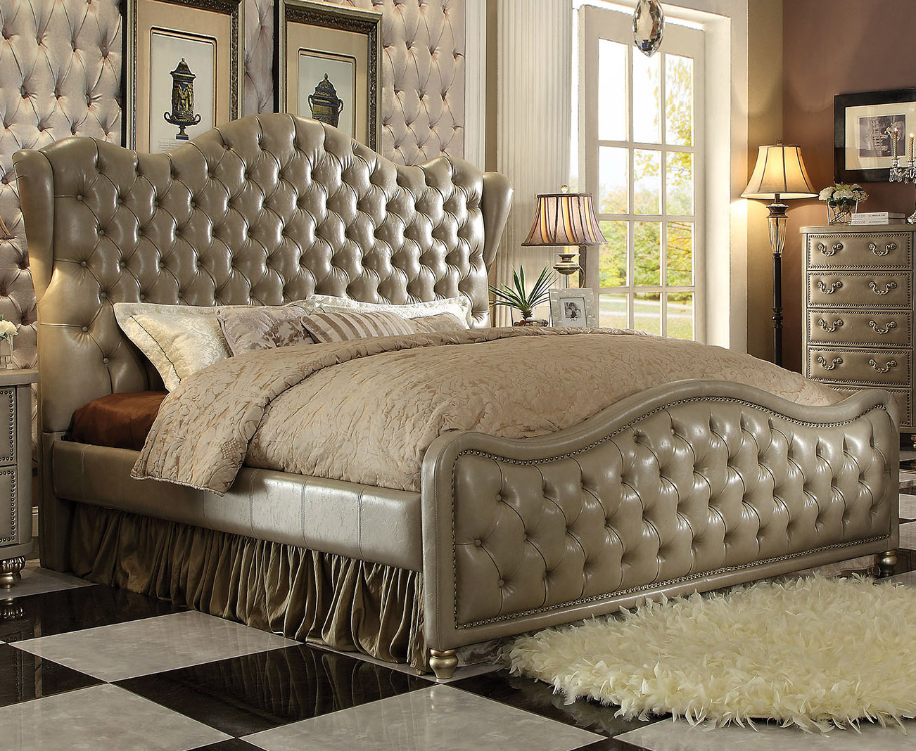Varada Queen Leather Bed Acme Furniture Home Gallery Stores