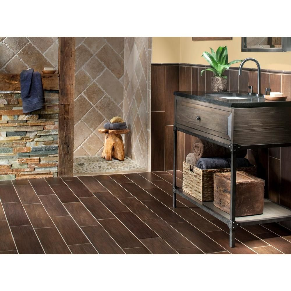 exotica espresso wood plank porcelain tile - 6in. x 24in