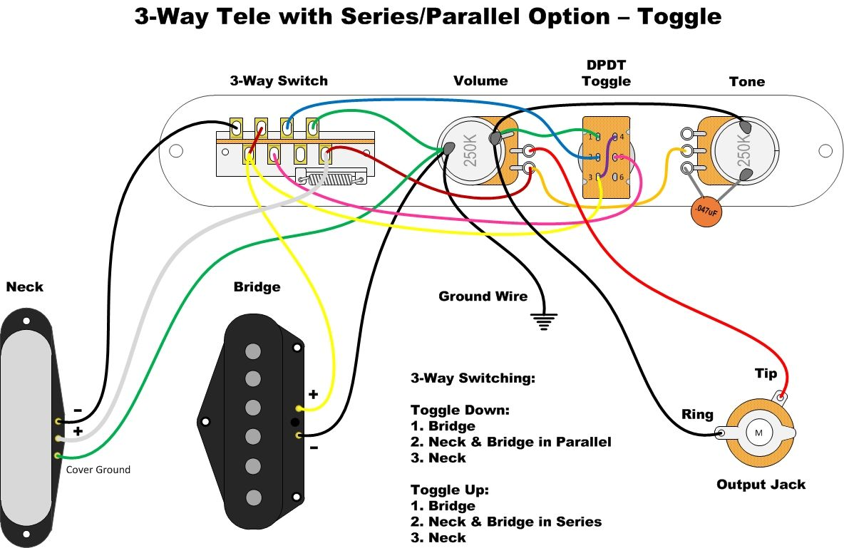 medium resolution of 3 way tele with series parallel option toggle