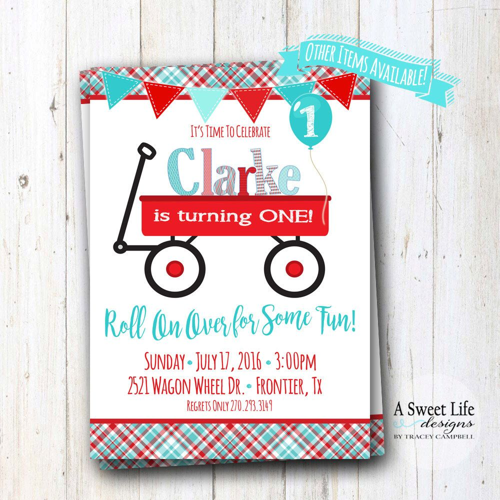 Little Red Wagon Birthday Party Invitation - Red Wagon Party - Radio ...