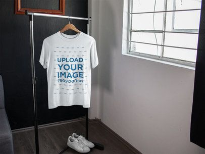 Download T-Shirt Mockup on a Rack Near White Shoes and a Window ...