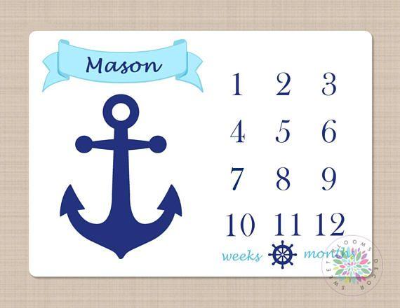 Milestone Blanket Nautical Baby Boy Blanket Anchor Nautical