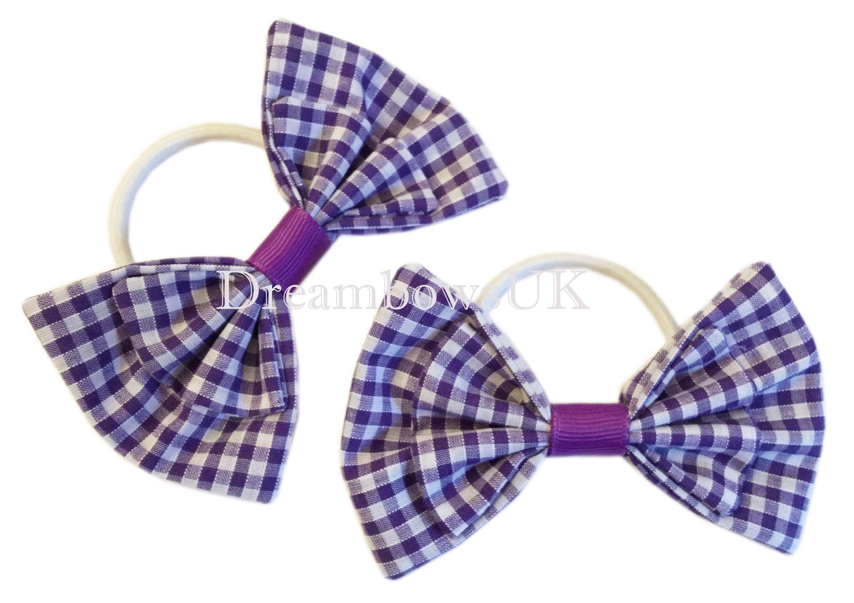 """Back to school light blue gingham /& white glitter Hair Bow Clip 4/"""""""