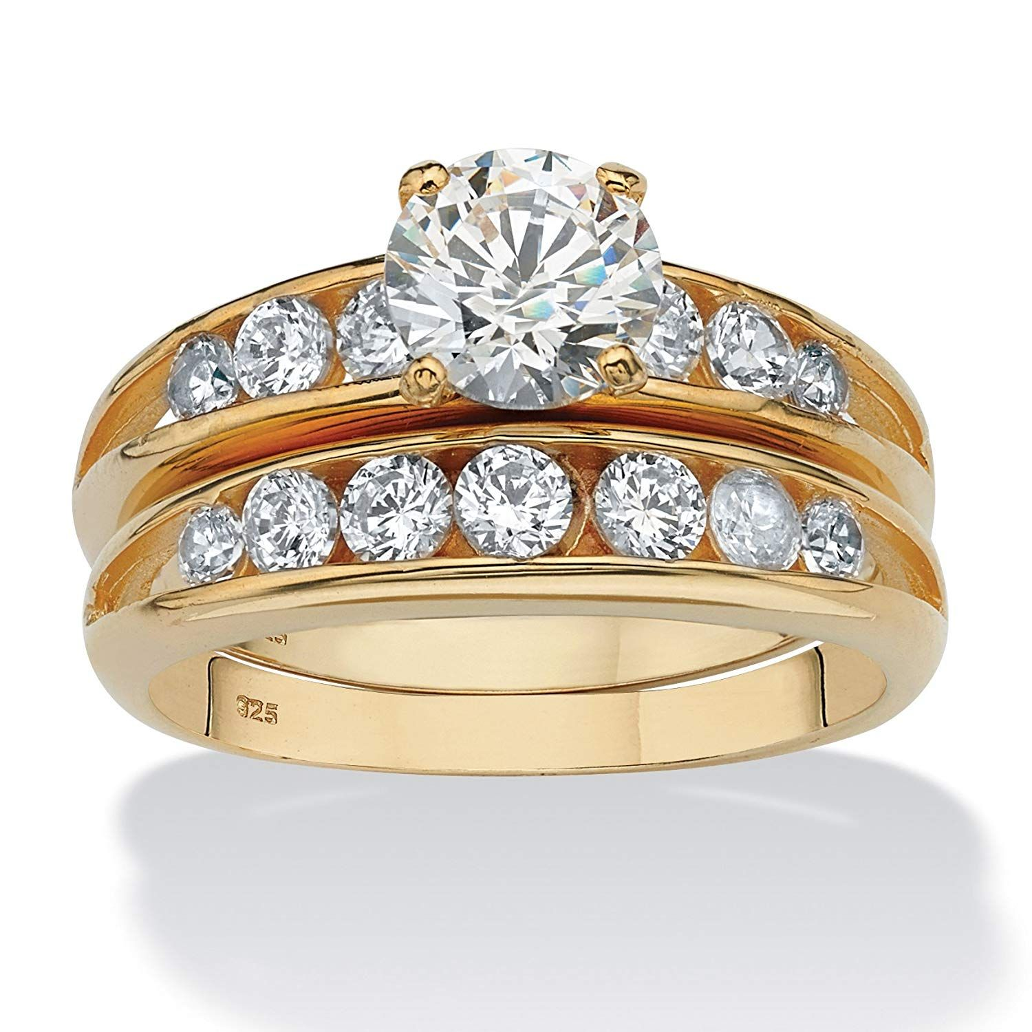 14K Yellow Gold over Sterling Silver Round Cubic Zirconia