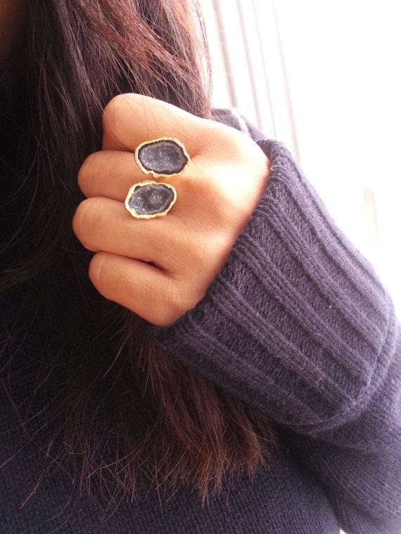 SALE WAS 85.00 Gold Geode Ring, Geode Jewelry, Tabasco Geode, Adjustable Ring, Cocktail Ring, Statement Ring, - Gold Black Slate Geode Ring