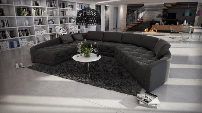 Canapé d angle panoramique cuir avec capitons Leyde