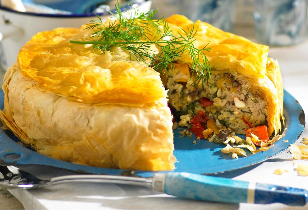 This stunning pie is packed with rice and vegetables and makes a great side dish or a main meal.