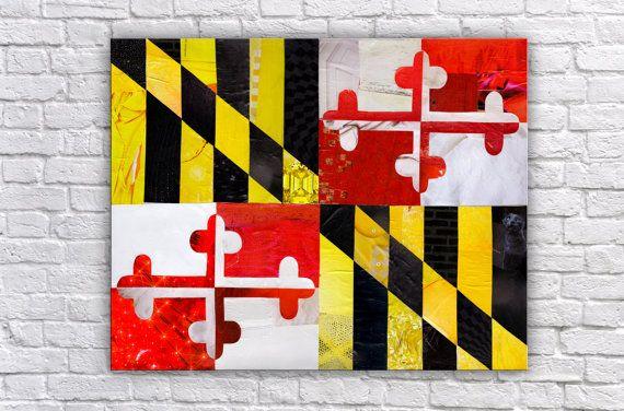 Maryland Gift Maryland Flag Maryland Wall Art Baltimore Etsy Collage Art Mixed Media Art Maryland Flag