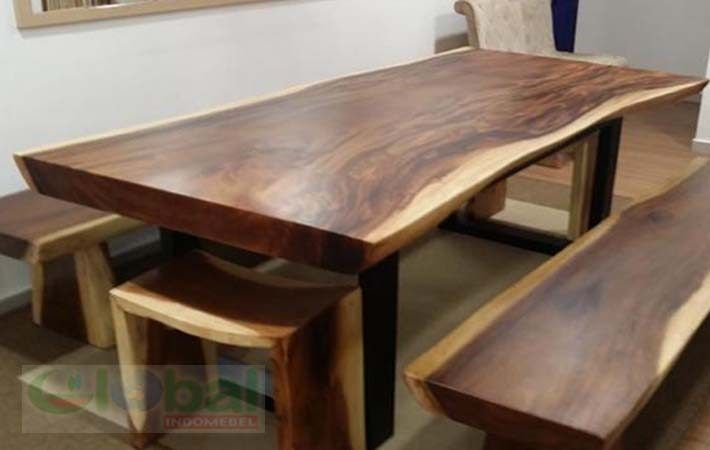 Acacia Solid Wood Tables Made Of Suar Wood With Wooden Legs Is A Simple And Classic Design Constr Wood Slab Table Solid Wood Table Live Edge Wood Dining Table
