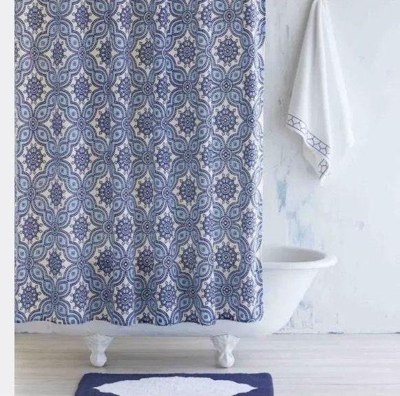 John Robshaw Textiles Petra Shower Curtain 72x72 100 Cotton New