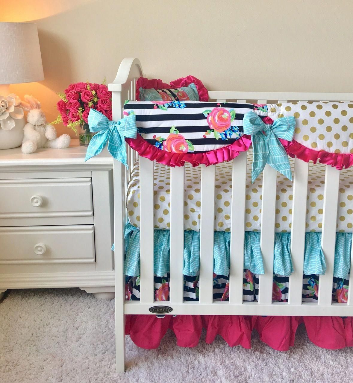 Crib Rail Cover Hot Pink, Aqua, Gold Dot, and Watercolor