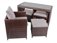 Sitzgruppe Esstisch Balkon Polyrattan Glas coffee 5teilig NEU