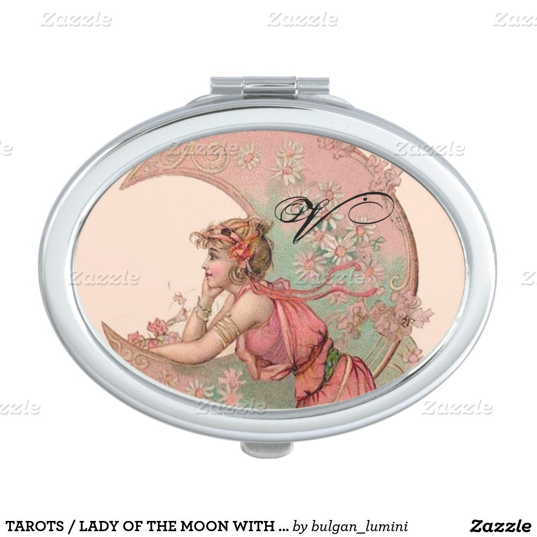 TAROTS / LADY OF THE MOON WITH FLOWERS IN PINK VANITY MIRROR