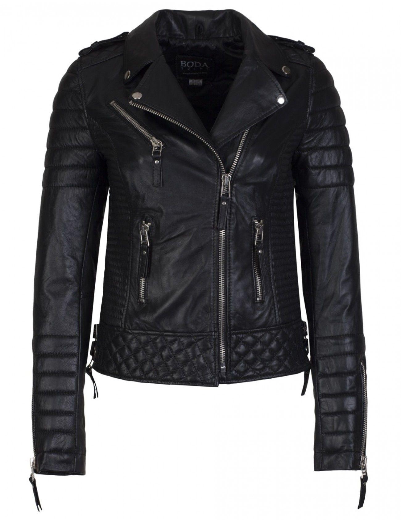 83cda54fa727 Boda Skins Kay Michaels Oil Black Quilted Biker Jacket