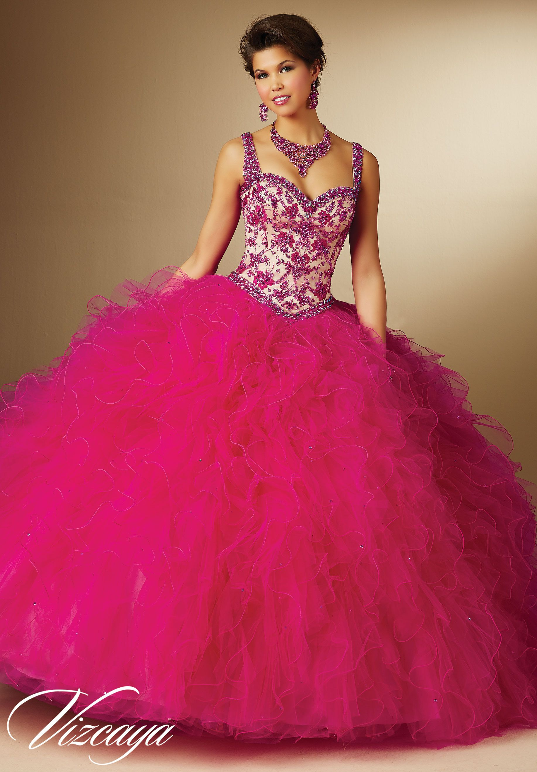 Pink Contrasting Embroidery, Beading Ruffled Skirt Quinceanera ...