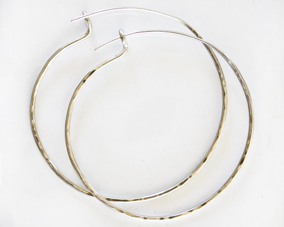 Silver Hoops - Bold Jewelry - Big Earrings - Big Hoop Earrings - Unique - Hand Hammered - Cute - Everyday Wearable - Fashion by amywaltz #TrendingEtsy