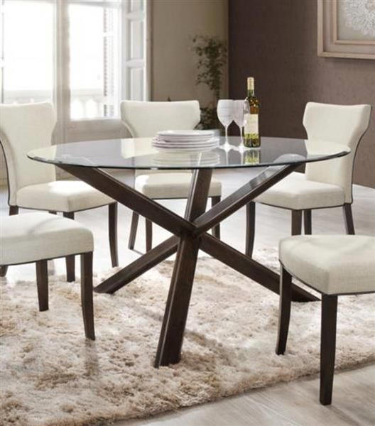Davis Walnut Wood 54 Inch Glass Top Round Dining Table Dining