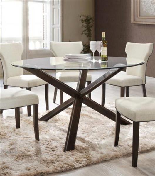 Davis Walnut Wood Inch Glass Top Round Dining Table Chintaly - 54 inch glass top round dining table