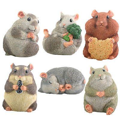 Hamsters Set Of 6 Adorable Gerbils Figurine Statue Ebay