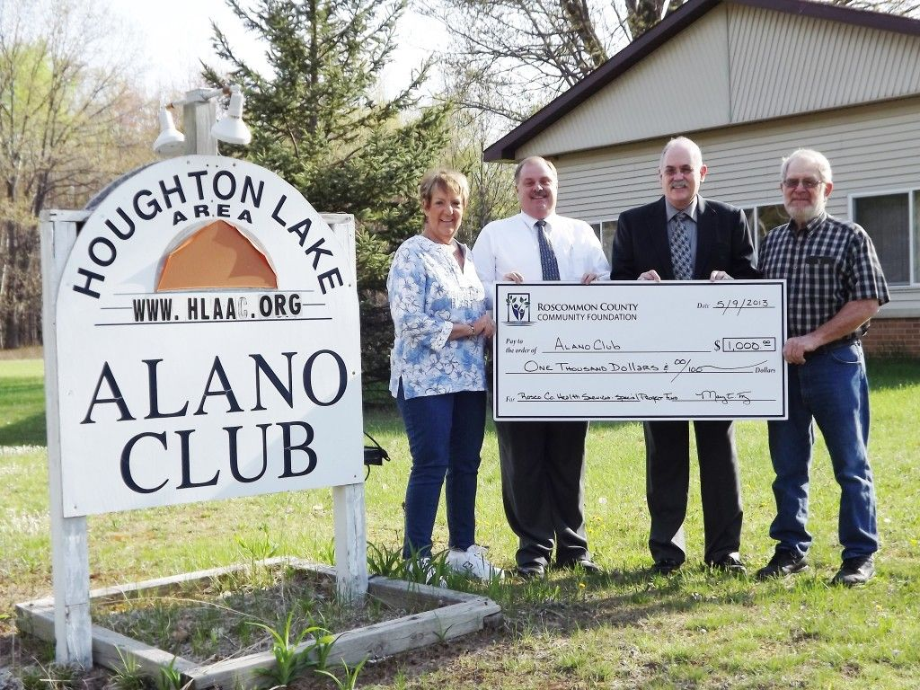 The houghton lake alano club receives grant from rccf