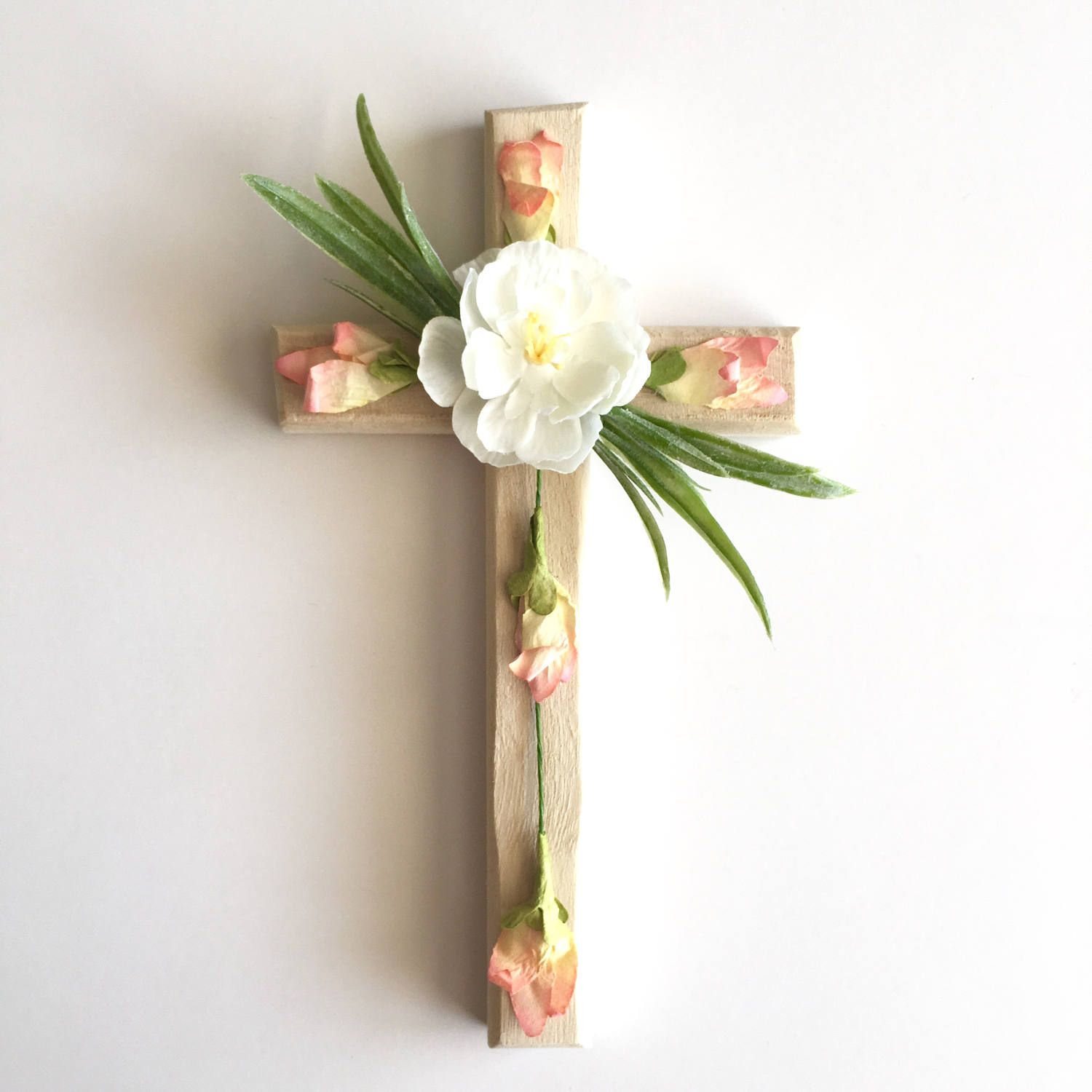 Wall Cross Rustic Floral Flower Christian Decor