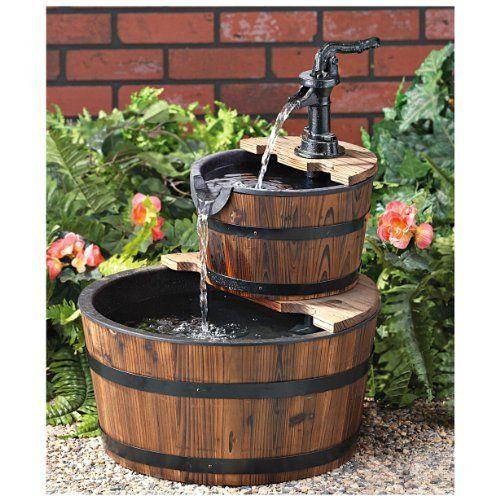 Castlecreek 2 Tier Barrel Fountain Http Www Amazon Com Dp B00bzr6tfw Ref Cm Sw R Pi Awdm Zdkhtb0ntk5de Wohnen Und Garten Wasserspiel Garten Aussenbrunnen