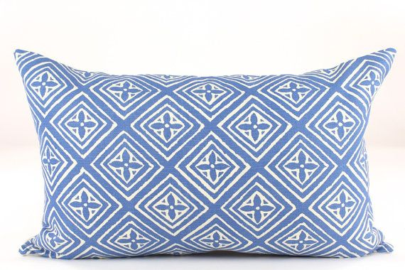 Queen Throw Pillows : Quadrille China Seas FIORENTINA Designer Lumbar Pillow Cover in China Blue on Tint, Accent ...